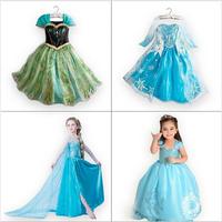 1PCS+Free 2014 Hot Selling New Style Girls Frozen Dress Elsa Anna beautiful Dress Fashion princess Dress Children's Cloting