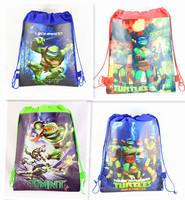 20PCS New Children's Backpack Teenage Mutant Ninja Turtles Drawstring Bag Backpacks Printed School Bags For Girl Non-woven Bag