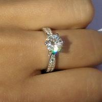 FOREVER BRILLIANT& TEST POSITIVE1 Carat Engagement Wedding Rings For Women CPP Lab Grown Moissanite Diamond