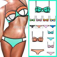 2015 New Women Sexy Push up Bright Diving Suit Material-Neoprene Padded Bikini Set Swimsuit Swimwear