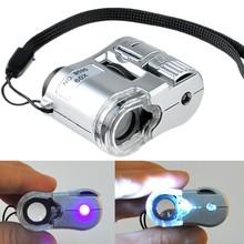 Nova Prata 2014 60X Mini bolso Lupa Lupa Microscópio LED Moeda UV Detector # 4 19404(China (Mainland))