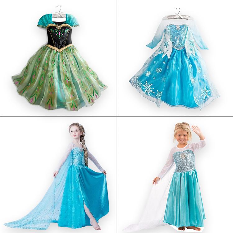 Retailer 2015 kids Dress Custom Elsa Anna Snow Queen Cosplay Dress Summer Girl Dress Princess Costume for Children 3-8Y(China (Mainland))