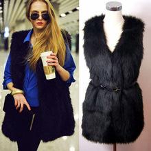 Women Brown Plus Size Faux Fur Vest Gilet Fourrure Rabbit Fur femme Vest Outwear Long Coat Special Slim Ladies Coats of Fur