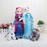 Retail 4pcs/set 40cm Princess Elsa Anna Plush + Olaf the snowman + Sven plush toys stuffed dolls cotton lovely gift
