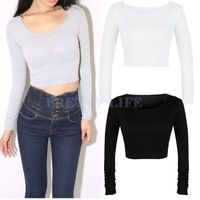2014 Ladies Sexy O-Neck Long Sleeve design Retro belly cotton Crop Top T Shirt summer Women Autumn Sexy Tops B18 SV007658