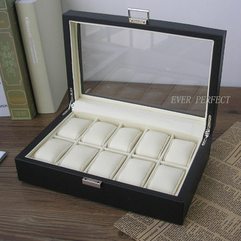 Luxury wood leather 10-slot jewelry & watch display case exhibition present box with transparent lid Black 1249