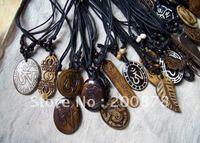 TNL345   Mix order Tibetan Yak Bone carved Totem symbols,Man`s amulets pendants necklace