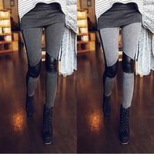 Marca New mulheres costura Stretchy Faux perneiras de couro calças calças Leggings de couro de venda quente B22 CB029650(China (Mainland))