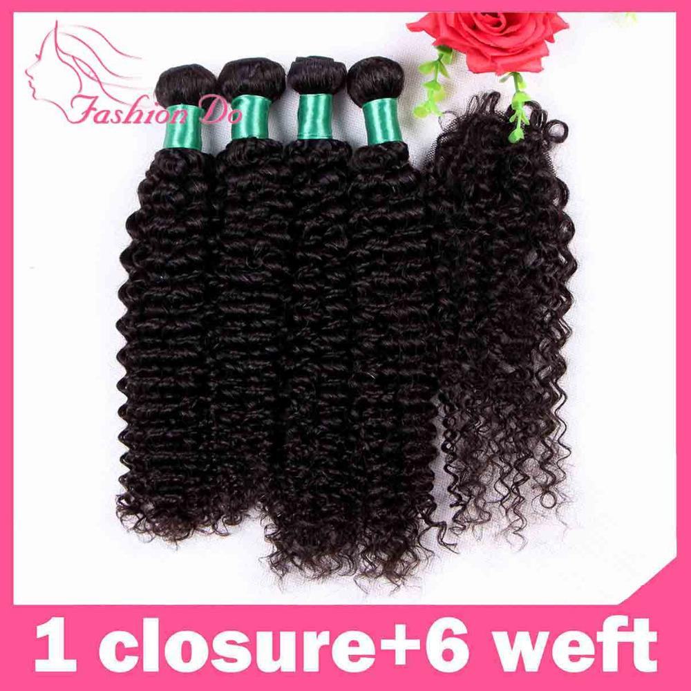 Ali 6A Peruvian Virgin hair Curly Unprocessed Virgin Human Hair Kinky Curly 6pcs with free closure Jerry Curly Hair Bundles(China (Mainland))