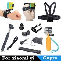 For Gopro SJ4000 Monopod Tripod Mount Adapter+Clip+Chest Belt +Arm/Wrist Strap+Head Strap+Float Bobber for Gopro 1 2 3 3+