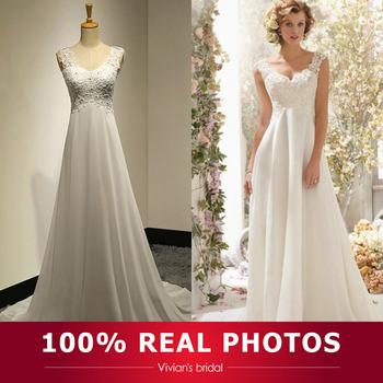 Сексуальная горячая распродажа линии дешевое платье v-образным вырезом спинки аппликация бисером шифон свадебное платье свадебное платье для женщин VB10