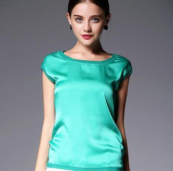 Лето женщины блузки 2015 новая свободного покроя шифон шелковая блузка тонкий рукавов ...
