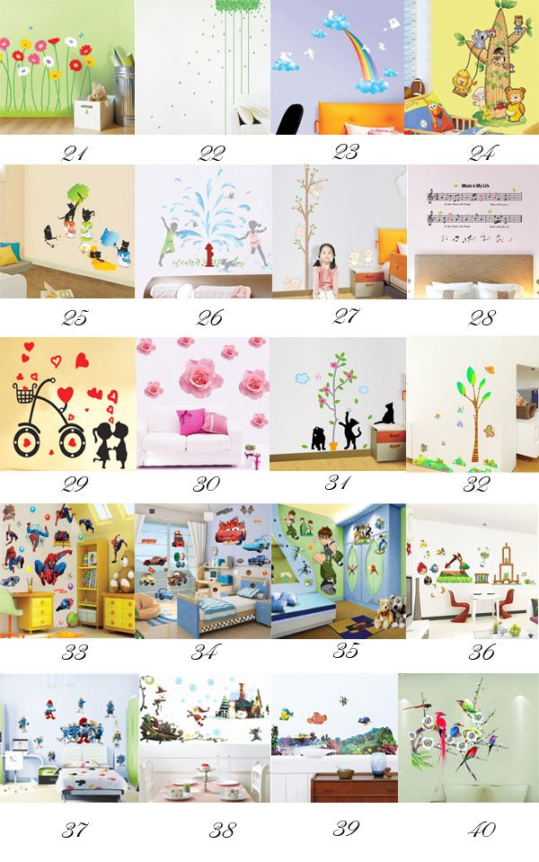[funlife]-New Update Peel & Stick Mix Art Wall Sticker Decal 500x700mm 1000pcs(China (Mainland))