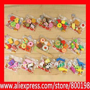 Elegant packi Nolvety Stationery Mixed assembly,Fruit Eraser,cartoon eraser,food eraser,4pcs/packs