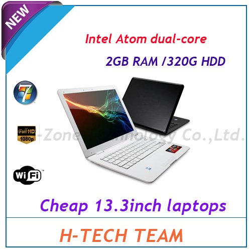 Hot selling Cheap price 13.3 inch mini laptop&notebook with Intel Atom D2500 1.86Ghz processor,2G RAM&320G HDD,WIN7 1.3M webcam(Hong Kong)