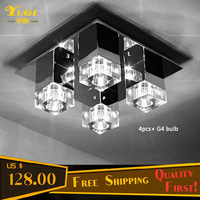 Free Shipping 40CM*40CM Square Crystal Ceiling Lights With 4pcs G4 LED bulbs