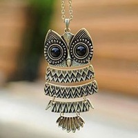 Vintage Jewelry Cute Owl Necklace Big Eye Owl Pendants Necklaces 10pcs/lot Free Shipping