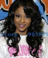 Fashion black wavy 100%  human hair lace front wig