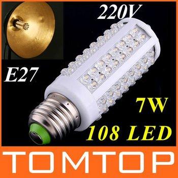 AC 220-240V 108 LED E27 Screw Corn Light Bulb 7W Warm white/white led lighting free shipping