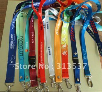 "300pcs/lot free shipping 3/4"" 2cm*90cm custom promotional lanyard LOGO printed neck strap with metal hook"