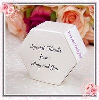 FREE SHIPPING--Metallic White Wedding Hexagonal Candy Box/Favor Box (JCO-318)