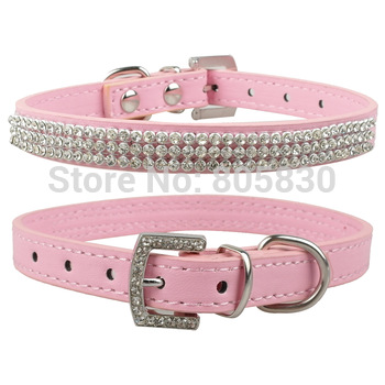 Rhinestone Dog Collars MOQ: 15pcs Free Shipping Fashional Diamante  PU Leather Pet Collar for Puppy Pink Rose Blue Black Red