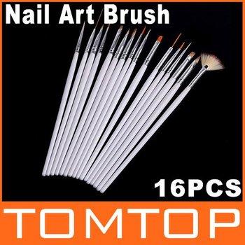 2014 HOT!! 16pcs White Nail Brush Brushes Set Nail Paint Design Pen Tools for False Nail Tips UV Nail Gel Polish