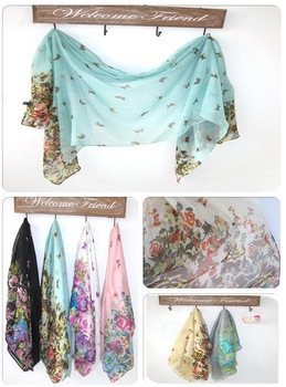 Popular 10pcs/lot  100% cotton voile woman fashion style flower print floral butterfly scarves shawls with mix colour