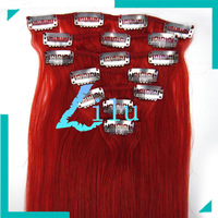 15'' 18'' 20'' 22'' Remy Hair Clip  Ins 7pcs Human Hair Extension #red