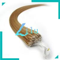"16""18""20""22""24""26"" Natural Silky Straight Micro Loop Ring/Beads Hair Extension #27 dark blonde,100s per lot"