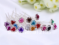 Free Shipping Crystal Bridal Painting Metal Rose Flower Hair Pin Silver Plating Hairpins 6.5*1.3*1.3cm Mixed Colors 200pcs/Lot
