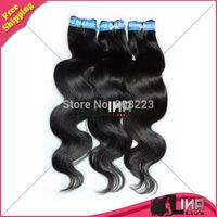 5A Human hair weaves brazilian virgin hair body wave 3 pcs/lot 12-28inch color 1b# Lina hair products DHL free shipping