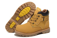 Good Quality 2013 men's winter leather causal boots Waterproof work footwear inside Plush keep warm shoes US size 6-10
