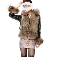 2013 MOST Fashionable Real Genuine Sheep Leather Jacket winter hooded garment outerwear women coat Free Shipping QD5912