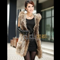 Real Knitting Rabbit Fur Vest Waistcoat 2013 Lady Fashion Gilet with Raccoon Dog Fur Trimming Hooded  Free Shipping QD5931 A G