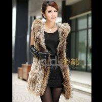 Winter Women's Genuine Knitted Rabbit Fur Vest Raccoon Fur Hoodi Waistcoat Lady Fashion Gilet Outerwear Coats QD5931