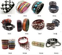 Mix color Leather Bangle Bracelets Leather Bracelet jewelry punk rivet women Bracelet 10pcs/lot mix order free shiping