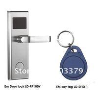 RFID EM Handle Door Lock LD-RF100Y 1 unit (Silver) + EM Key Tag  10pcs