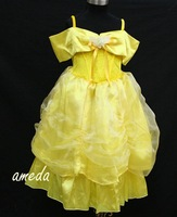 Girls Halloween Princess Costume - Belle Yellow Dress / Birthday Wedding Party 2-8Y