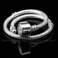 5Pcs/Lot 925 Silver 3MM Snake Chain Fit European DIY Beads Charms Pulseras Bracelet (16CM-21CM For Choice) DB009