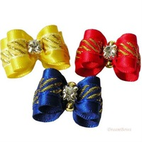 Handmade Accessories Pets Fashion Gold Edge Ribbon Crystal Core Ribbon Bow DB173. Dog Bow, Small Dog Supplies.