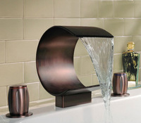 Deck Mounted Bathroom Mixer Oil Rubbed Bronze Waterfall Basin Faucet  - Free Shipping (3-8014R-1)