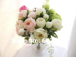 high quality peony,Bridal Bouquet,wedding party table centerpiece,Christmas home decoration silk artificial flower arrangement(China (Mainland))
