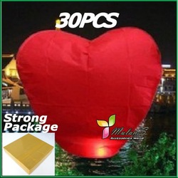 15%OFF Mulan&#39;S 30xRED Heart shaped UFO Lamp Wishing Sky Lantern Chinese Lantern Birthday Xmas Party Wedding Lamp ,FREE SHIPPING(China (Mainland))