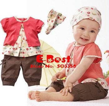 [E-Best] Wholesale 3 sets baby girls cute t-shirt+short pants+headband 3pcs sets lovely design girls suits ST035