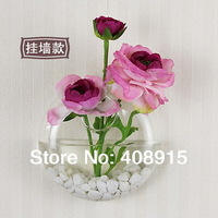 Fashion Clear Glass Vase, Wall Oblate Circle Flower Vase, for decoration, 2pcs/ lot, free shipping