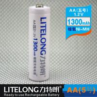 Free shipping (100pieces/lot) LITELONG AA 1.2v 1300mah Ni-MH Rechargeable Battery Consumer Battery High Capacity