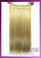 "24""(60cm)110g straiht 5 clip in hair extension hot resistent synthetic, color #60 Platinum Blonde"