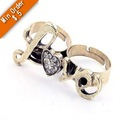 Min.order is $15 (mix order)simulated Diamond Heart-Shaped Love Double Rings,Women Ladies Fashion Rings  R238