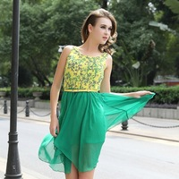 FREE SHIPPING BaBassu NEW ARRIVED LADIES' HIGH QUALITY FASHION SWEET ASYMMETRICAL SUMMER CASUAL CHIFFON DRESSD12858NH